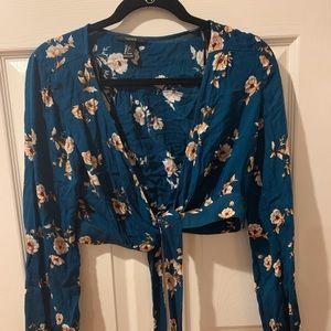 Blue Flower Long Sleeve Open Front Tie Top